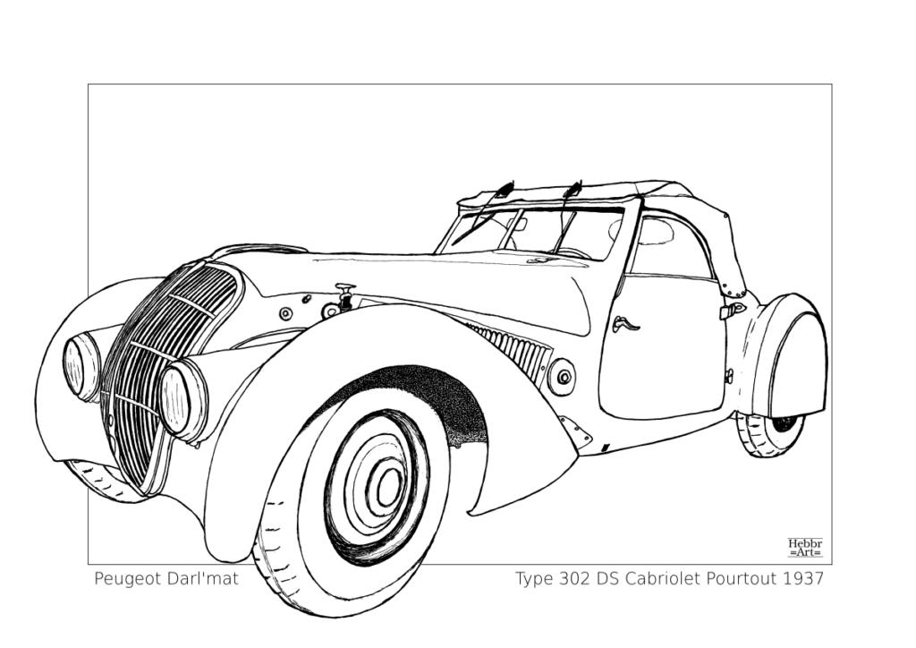 Lijntekening Peugeot 1937