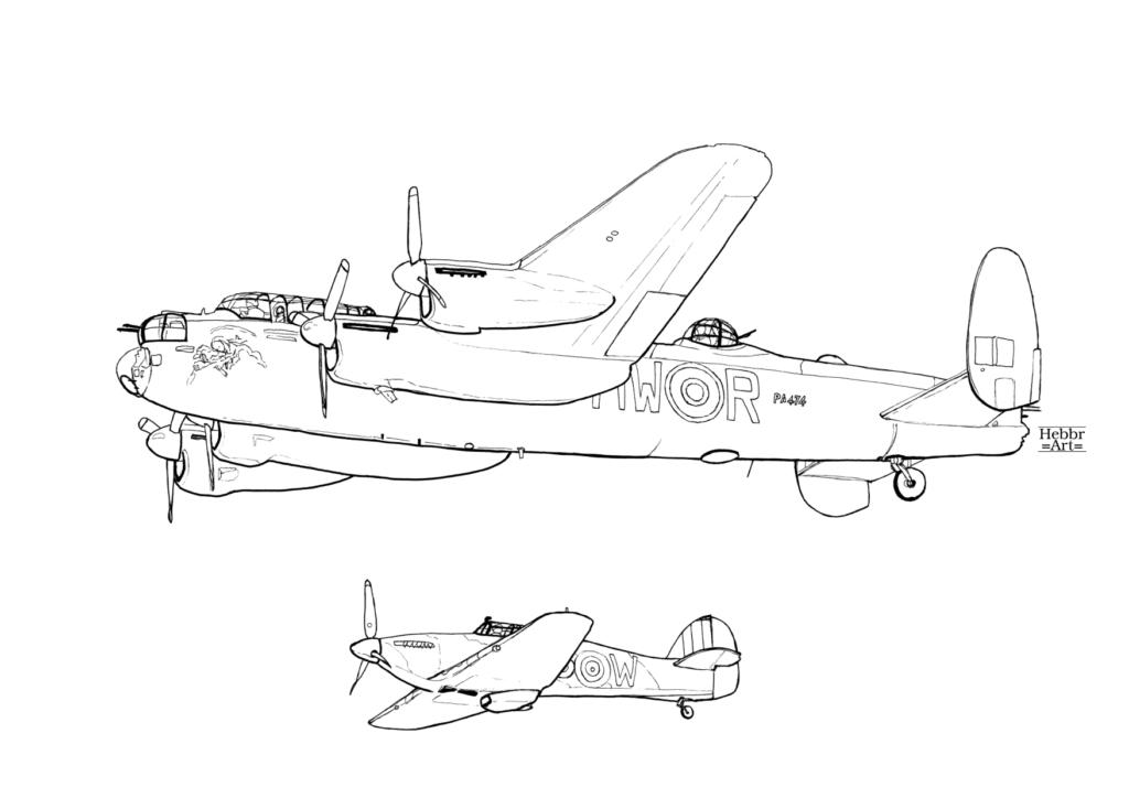 Lijntekening Lancaster bommenwerper en Hurricane